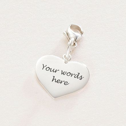 Engraved Silver Heart Charm